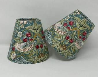 Strawberry Thief teal candle clip shades in a William Morris design