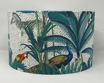 Tropical velvet drum lampshade featuring zebras, parrots, leopards and peacocks