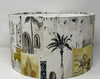 Marrakesh drum lampshade in mustard, white and grey