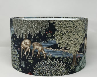 The Brook (navy) lampshade in a William Morris design