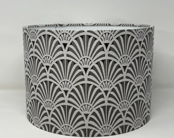 Zellige charcoal drum lampshade