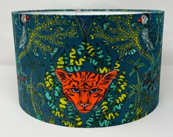 Emma J Shipley Amazon navy and teal leopard design drum lampshade