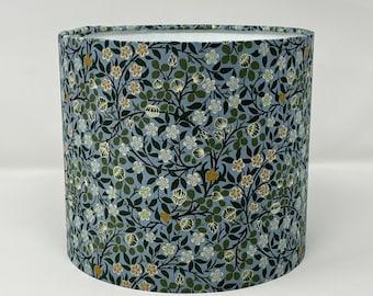 Clover Mural drum lampshade in a blue William Morris designed fabric