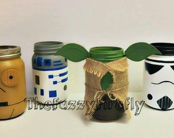 Choice Of 2 Star Wars Inspired Mason Jar Centerpiece Decorleia DecorationsStar Baby ShowerchewbaccaBoba Fettdart Vader