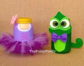 Handmade Rapunzal OR Pascal Mason Jar,Tangled Inspired Centerpiece,Princess Party,Rapunzel Centerpiece,Princess Tutu,Decorated Mason Jar