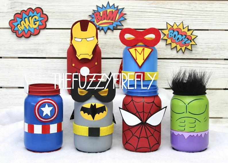 90b6d611966af Superhero Mason Jar CenterpieceBatman PartyIron Man