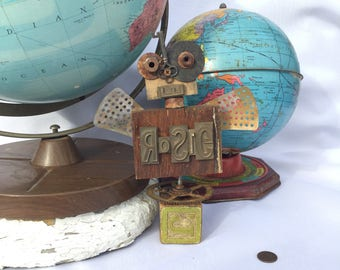 Rosie, assemblage, robot sculpture, one of a kind, repurposed, whimsical, letter press