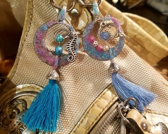 Keychain,Purse, Backpack charm. Dolphin or Seahorse with crystals and or pearls and tassel on stainless steel carabiner with swivel