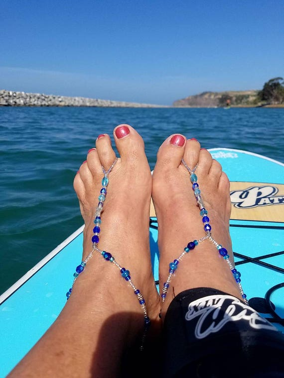 Czech crystal and glass beads with starfish charm and teal pearl on stretch cord Barefoot sandals in Blue