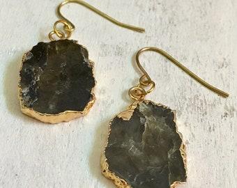 Labradorite 24K Gold Plated Earrings