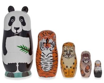 Kids Monkey Hand Painted Matryoshka Babushka Nesting Dolls Toys DD