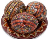 Set of 3 Brown Ukrainian Wooden Easter Eggs Pysanky on a Plate