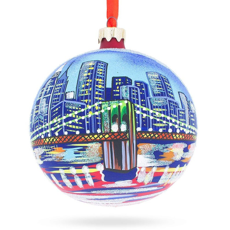 New York Brooklyn Bridge Glass Ball Christmas Ornament 4 Inches