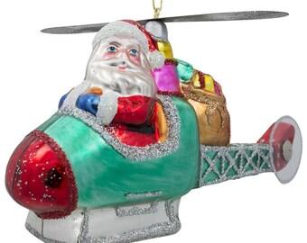 "5"" (L) Santa Claus Helicopter Pilot Blown Glass Christmas Ornament"
