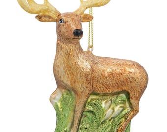 """4.75"""" White- Tailed Deer Glass Christmas Ornament"""