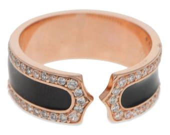 Black Stripe 14 Karat Gold Plated Sterling Silver Men's Ring (Size 10)