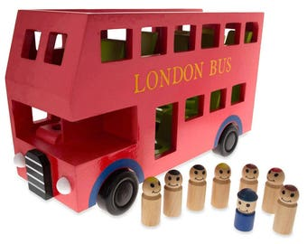 "11.8"" Wooden Red Double Decker Bus with 8 Passengers Play Figurines"