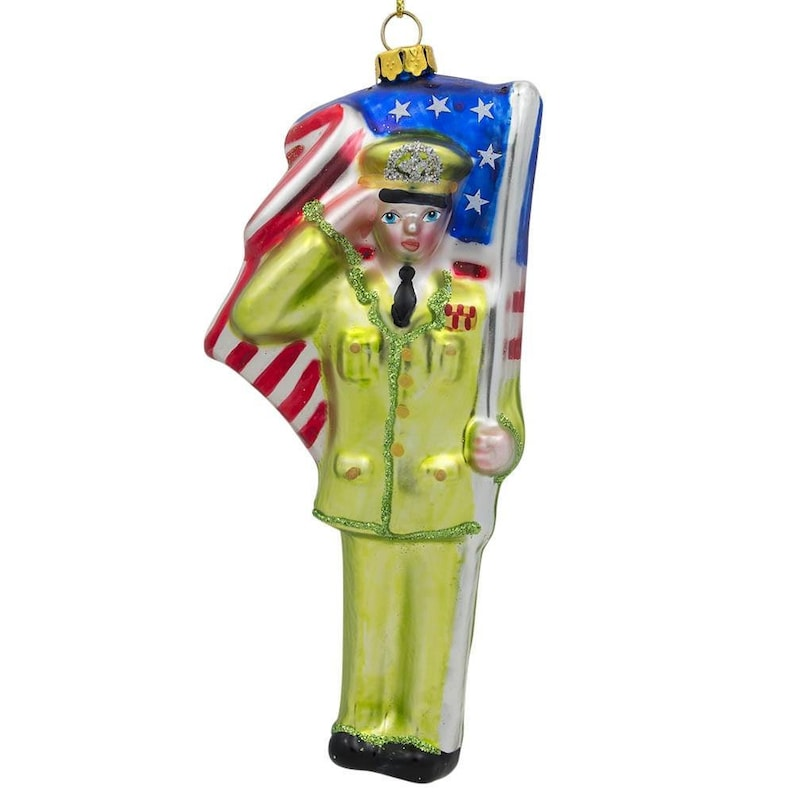 BestPysanky USA Army Soldier with Flag Glass Christmas Ornament 5.5 Inches