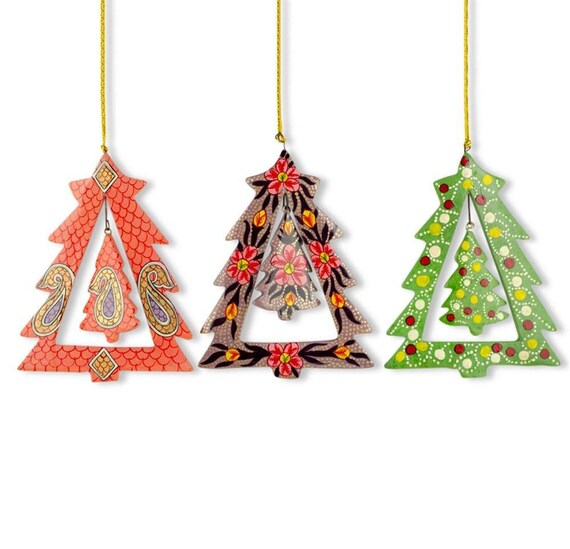 image 0 - 5.5 Set Of 3 Rotating Christmas Tree Wooden Ornaments Etsy
