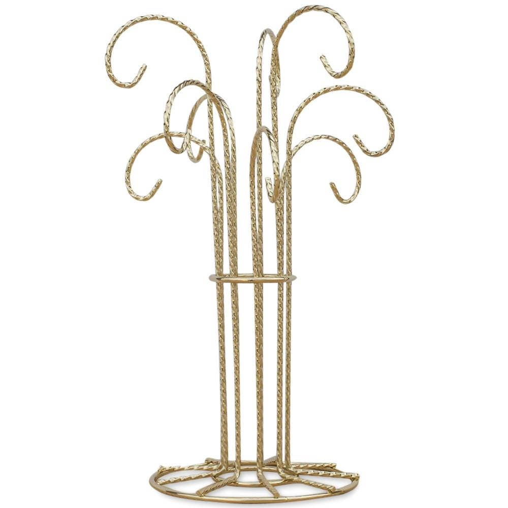 Tall Pole Gold Tone Metal 4 Ornaments Stand 8.5 Inches