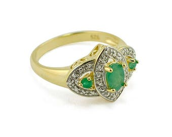 3 Green Emeralds Sterling Silver Women's Ring (Size 6)