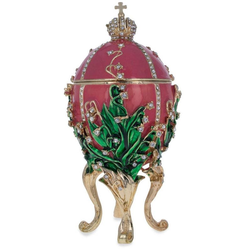 1898 Lilies of the Valley Royal Egg Glass Christmas Ornament