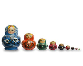 "4.75"" Set of 9 Rainbow Collection Blue Russian Nesting Dolls Matryoshka"