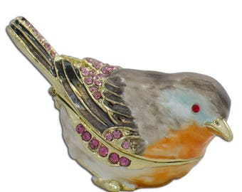 "2"" Robin Bird Faberge Inspired Jeweled Trinket Box Figurine"
