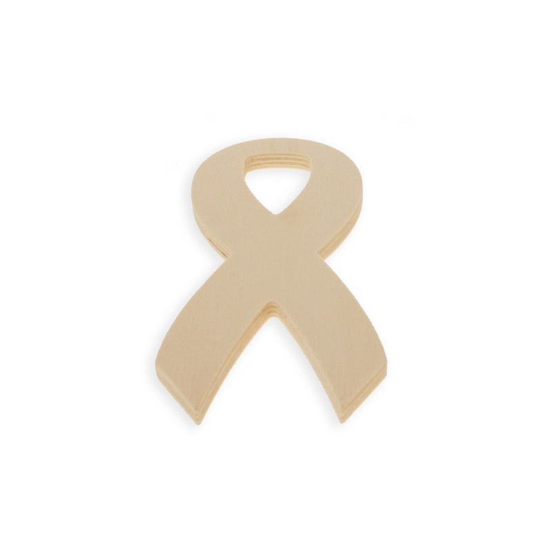 BestPysanky Awareness Ribbon Unfinished Wooden Shape Craft Cutout DIY Unpainted 3D Plaque 6 Inches