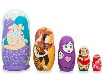 """6"""" Set of 5 Happy Mother's Day Wooden Animal Nesting Dolls"""