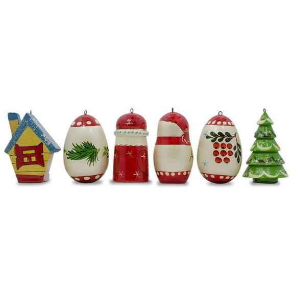 2 25 Set of 6 Snowman Bird House Christmas Tree Santa