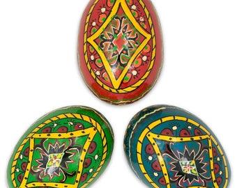 "3"" Set of 3 Rhombus Ukrainian Wooden Easter Eggs"