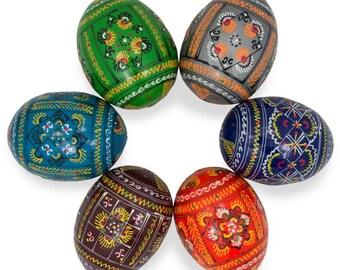 """2.25"""" Set of 6 Geometric Ukrainian Wooden Easter Eggs"""