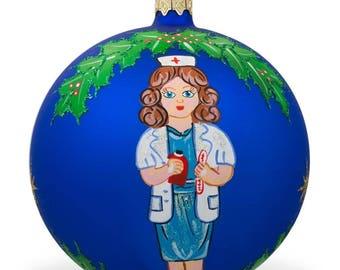 "4"" Nurse or Doctor Glass Ball Christmas Ornament"