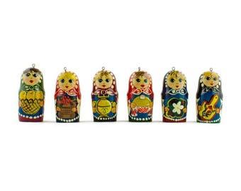 6 Matryoshka Russian Wooden Doll Ornaments