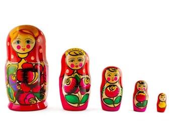 "6"" Set of 5 Maydanovskaya in Pink Scarf Russian Nesting Dolls Matryoshka"