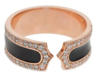 Black Stripe 14 Karat Gold Plated Sterling Silver Men's Ring (Size 9)