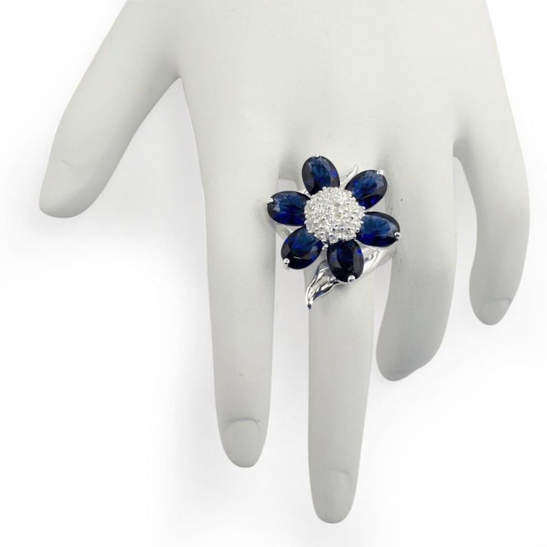 Size 7 Midnight Blue Flower Sterling Silver Ring
