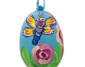 """3"""" Butterfly in Garden by Roses Wooden Christmas Ornament"""