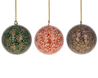 "3"" Set of 3 Golden Leaves Oriental Paper Mache Christmas Ball Ornaments"