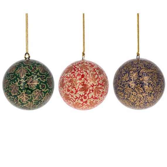 Paper Mache Christmas Ornament.3 Set Of 3 Golden Leaves Oriental Paper Mache Christmas Ball Ornaments