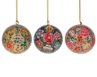 "3"" Set of 3 Floral Oriental Paper Mache Christmas Ball Ornaments"