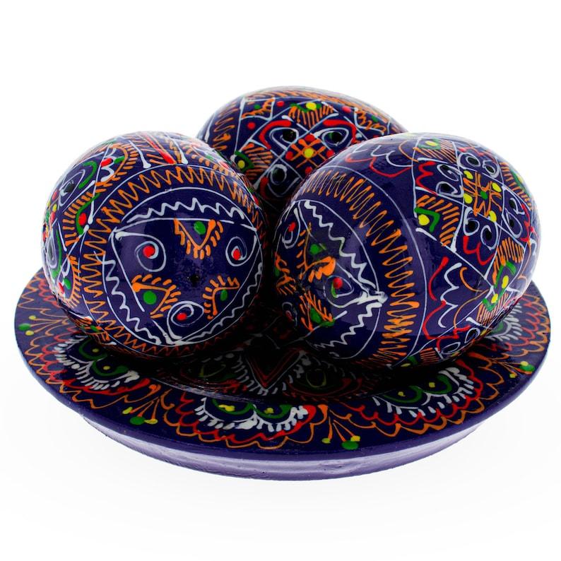 Set of 3 Purple Wooden Ukrainian Easter Eggs on a Plate