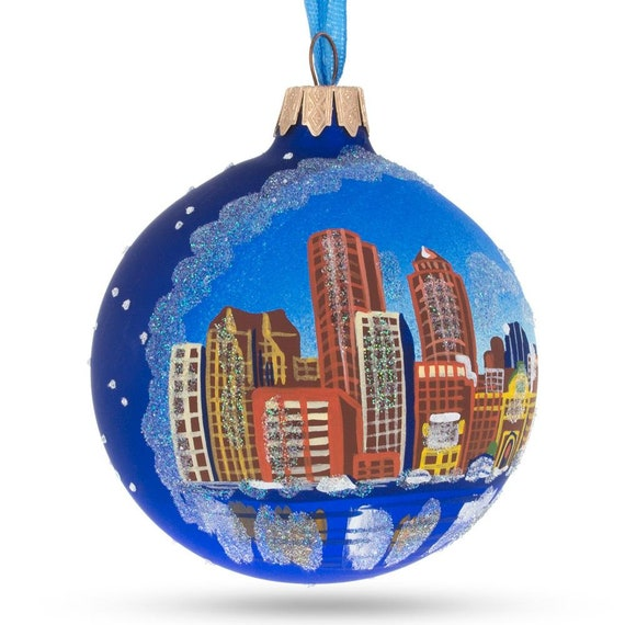 Massachusetts Glass Ball Christmas Ornament Boston