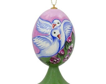 """3.5"""" White Doves in Love Wedding Valentines Gift Wooden Christmas Ornament"""