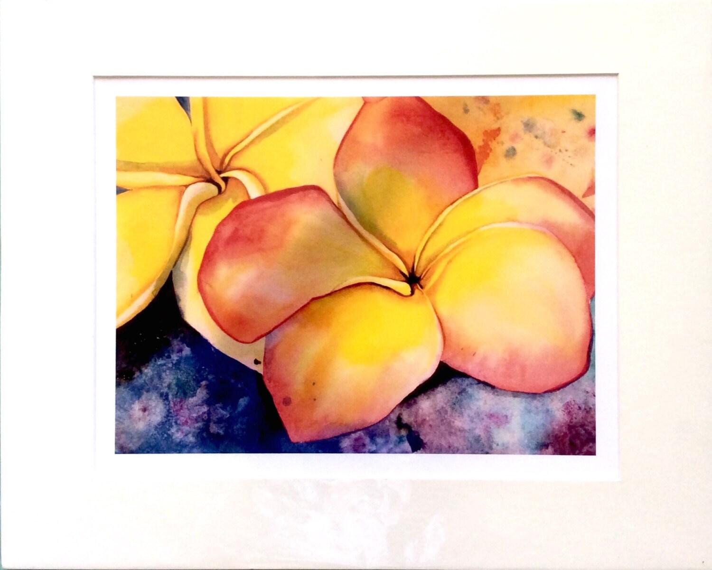 Frangipani yellow thai flowers Gi clee print Fine Art gee | Etsy