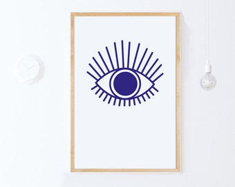 Blue Printable Art, Nursery Print, Eye Print, Eye Poster, Blue Wall Art, Digital Download, Nursery Wall Art, Large Poster, Digital Art Print