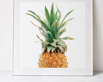 Digital Download, Pineapple Print, Tropical Wall Art Print, Pineapple Home Decor, Square Prints, Tropical Art, PRINTABLE Art, Kitchen Decor