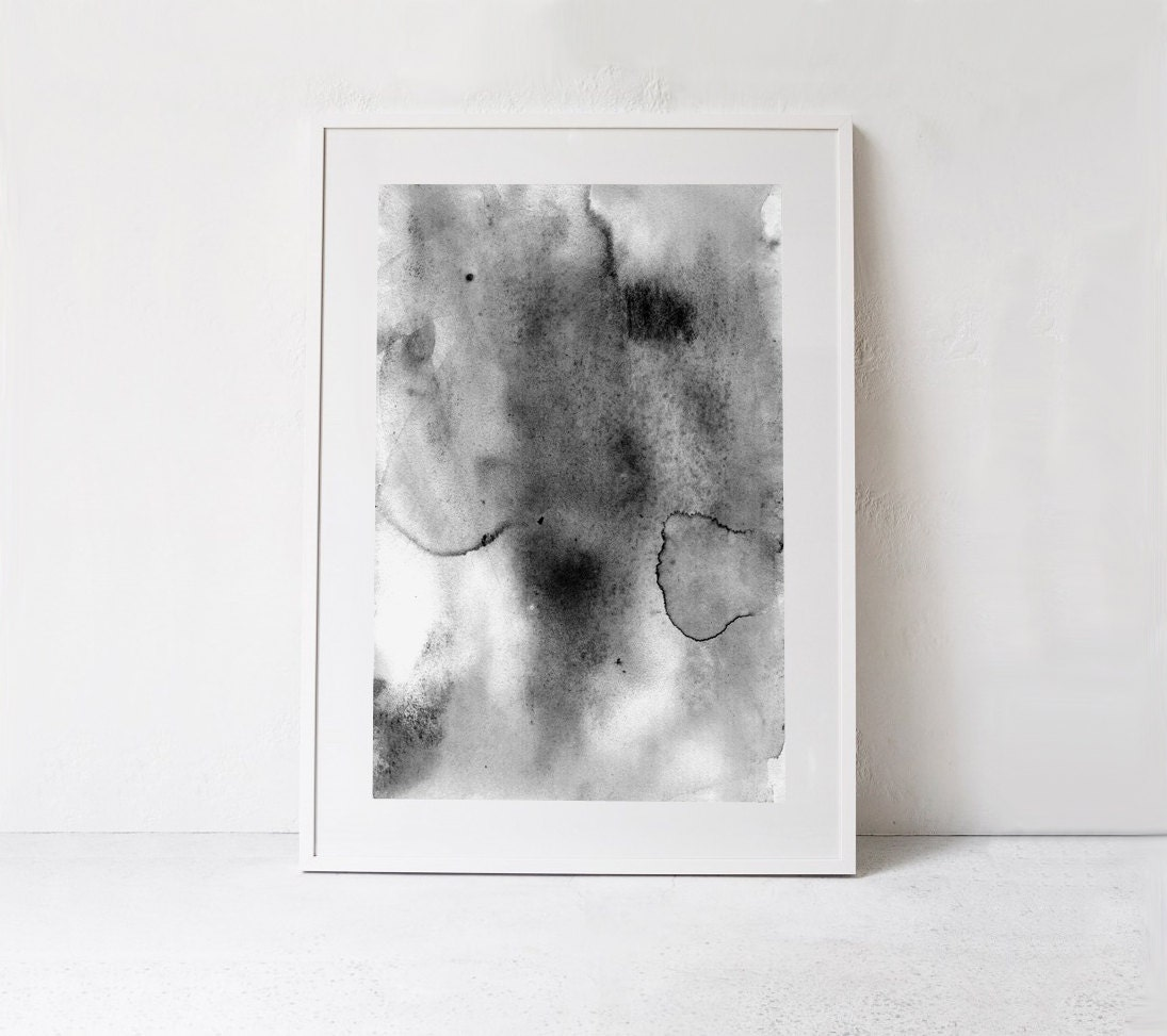 Modern minimalist poster abstract watercolor print scandinavian print black and white watercolor printable abstract art digital download