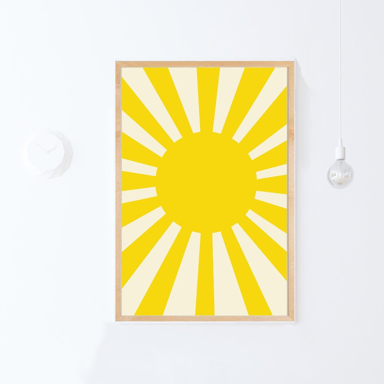 Sun Poster Yellow Nursery Print Kids Room Decor Playroom | Etsy